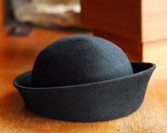 vintage 1960s Mr. John black wool hat