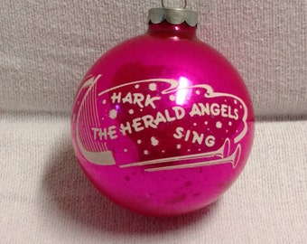Vintage Pink Stenciled Christmas Ornament Rare Hark the Herald Angels Sing Free Shipping with 3 or more Christmas orders.