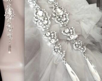 """Crystal chandelier earrings, Long crystal statement earrings, 5"""", Crystal wedding earrings, Brides statement earrings,Teardrop earrings, BRI"""