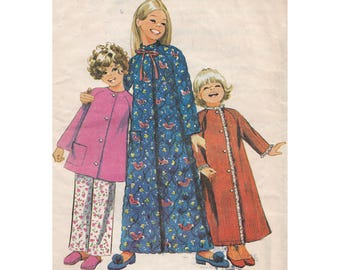 Girls Long Robe or Brunch Coat with Pants Simplicity 9688 Childrens Size 6 Breast 25 Housecoat Lounge Bathrobe Vintage 1970s Sewing Pattern
