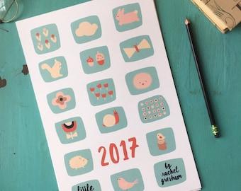 4x6 2017 Printable Calendar