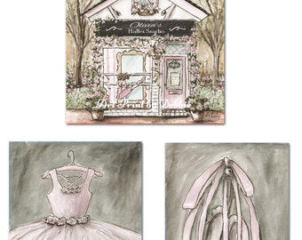 Ballerina Girl Bedroom, Vintage Ballerina Nursery, Ballerina Nursery Print, Shabby Chic Girl's Bedroom, Set Of 3 Unframed Fine Art Prints