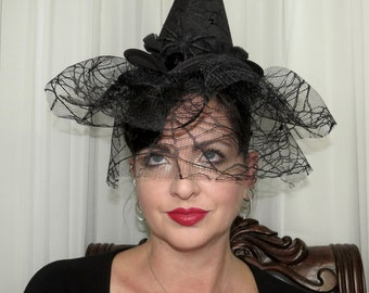 WITCHY PINUP  Spider Black Headband Veil Hair Adornment