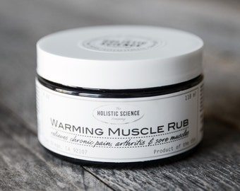 Warming Muscle Rub super-infused with capsaicin, camphor, turmeric, cinnamon, ginger & cloves 4oz