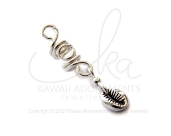 Loc Jewelry Cowrie Shell Sterling Silver wire hair accessories will fit Sisterlocks / microlocs / 2.5mm, 3mm, 3.5mm or 5.5mm hole