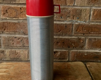 Vintage Industrial Ribbed Aluminum Insulated King -Seeley Thermos