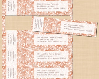 Rose Gold Sparkles Wrap-Around Address Labels: Text-Editable in Microsoft® Word, Printable on Avery® 80506, 22838, or 8217, Instant Download