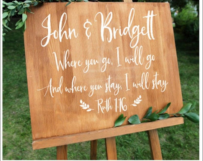 Personalized Wedding Decal Ruth 1:16 Religious Decal Where You Go I Will Go And Where You Stay I Will Stay Wedding Vinyl Decal DIY Lettering