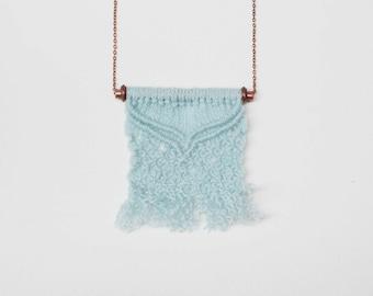 Blue macrame necklace | long boho necklace | handmade woven necklace | boho jewelry | fiber art | small statement necklace | zero waste gift