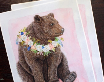 Bear and flower wreath Giclee art print. Floral and woodland theme painting. Nursery and Family wall decor. Sweet and elegant.
