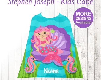 Mermaid Kids Cape, Personalized Cape, Little Girls Cape, Stephen Joseph Cape, Youth Cape, Mermaid,