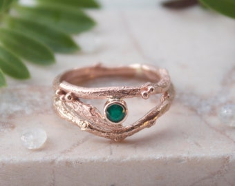 Rose Gold and Emerald Twig Engagement Ring Set, Woodland Wedding, Rustic Wedding, May Birthstone, Unique Engagement Ring