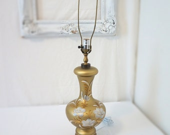 Czech Frosted Gold Glass Hand Painted Vintage Table Lamp