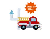 Fire truck birthday number 4 iron on patch, fourth birthday fireman embroidered applique, Fire hose birthday number four