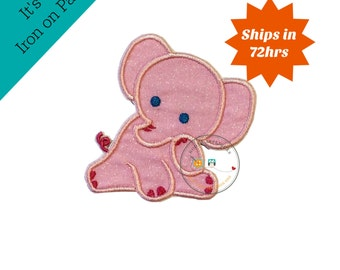 Ready to ship baby elephant pink applique small - iron embroidered fabric applique patch embellishment-