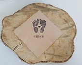 Baby Shower Napkins Light Burlap Personalized Footprints with Baby Name and tiny heart Cocktail Napkins  - Set of 50