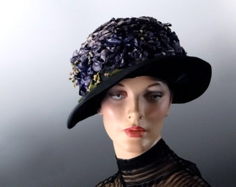 Vintage Cloche Hat Black with Tiny Purple Millinery Florals 1920's to 1930's Vintage Women's Accessories