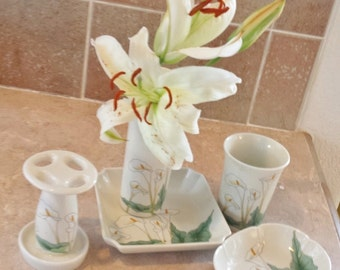 Cali Lilly Bathroom set Shibata ceramic  set of five Toothbrush holder, cup, vase, soap dish, small dish.