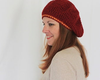 Beret hat, chunky tam hat, chunky beret, winter hat, burgundy tam hat, burgundy beret, slouchy hat, Phoebe Line, ready to ship