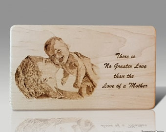 Mothers Day Art - First Mother's Day gift Baby Shower gift Mom child photo wood burned art  present picture mom love wooden sign pyrography