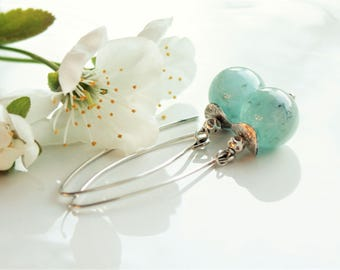 Aquamarine Earrings, Sterling Silver, aqua-blue gemstone modern threader earrings, artisan earrings, holiday gift for her, March birthstone