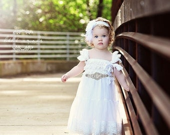 Flower Girl Dress, Lace Flower Girl Dress, Country Flower Girl Dress, Cowboy Flower Girl Dress, Flower Girl Outfit,Wedding Dress
