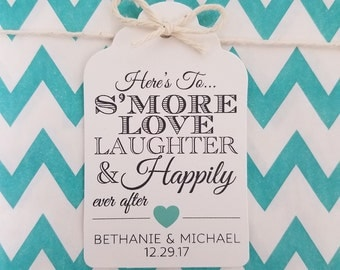 Wedding Gift Tags - S'more Love Laughter & Happily Ever After - Customizable Personalized (WT1705)