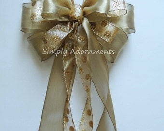 Gold Wedding Pew Bow Gold Dots Wreath Bow Metallic Gold Polka Dots Bow Gold Anniversary Party decor Gold Birthday Party Decor Wedding Decor