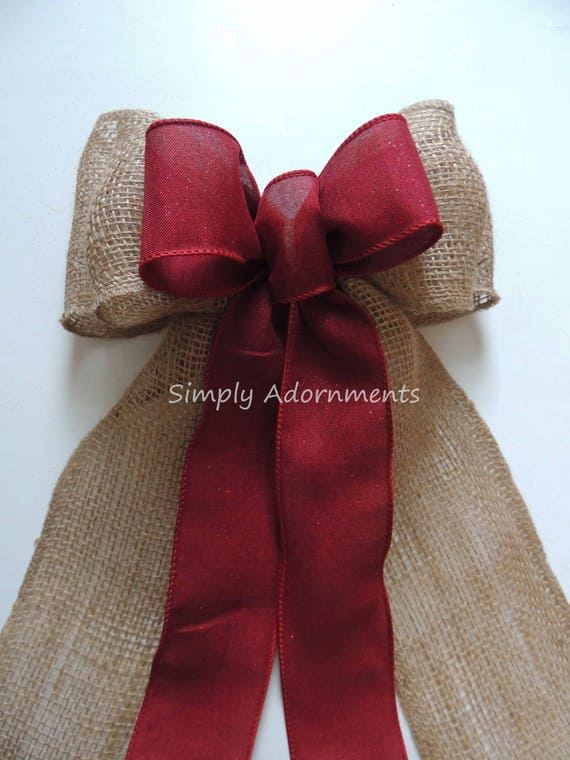 Rustic Burgundy Burlap Lace Wedding Bow Burgundy Red Burlap Lace Wedding Bow Shabby Chic Lace Burlap Ceremony Aisle Bow Burlap Chair bow