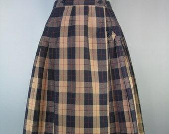 School Uniform Skirt / Vtg 90s / Rifle Official School Wear Skirt / Blue Tan Pleated Skirt / School Girl Skirt