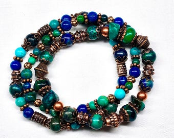 Set of Three Stretch Bracelets, Copper Beads & Bead Caps,Blue Green Gemstones,Boho Hippie Chic Gypsy Ocean Colors,Great Gift For Her,Stylish
