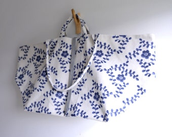 Large simple tote bag. Linen bag with blue flower print market tote. Style140B. Ready to ship