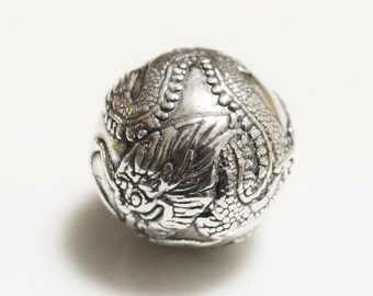 Sterling Silver Chinese Dragon Bead Reproduction, Unique Focal Beads (AD249)