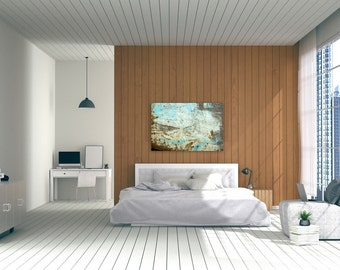 Huge abstract photography on canvas - Turquoise and gray huge abstract photography print on canvas - Modern bedroom decor