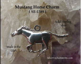 Sterling Silver Horse Charm, .925 Silver Horse Necklace, Equestrian Horse Jewelry, .925 Mustang Charm, Real Silver Mustang Necklace SE-1389