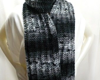 Hand Knit Black and White Scarf - Bulky Variegated Scarf, Man's Scarf, Handmade in the USA