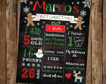 Baby First Christmas Poster - Babies First Christmas Sign - Baby Christmas Milestone - First Christmas Gift - Baby's First Christmas