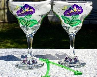 Margarita Glasses Hand Painted Purple Hibiscus, Set of 2-12 oz, Retirement Gift, Anniversary Gift, Birthday Gift, Mexican Wedding Gift