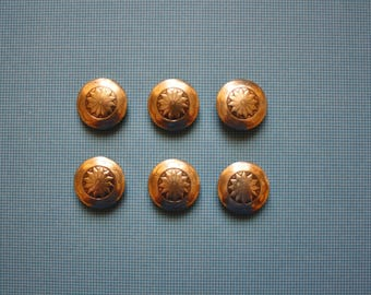 Metal Button Covers  /Set of 2  /Flower with Scalloped Border