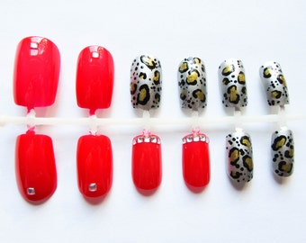 24 Fake Nails / Leopard Print / Red / False Nails / Acrylic Nails / Press on Nails / 3D / Nails