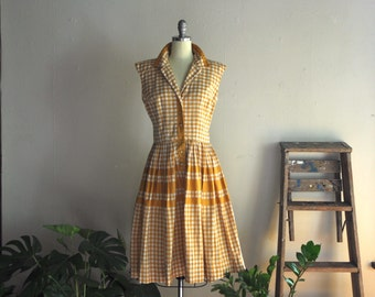 1950s dress | time on the thames | vintage cotton gingham dress