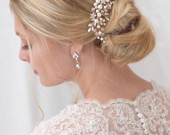 Pearl Bridal Comb, Floral Wedding Comb, Bridal Hair Comb, Wedding Hair Comb, Crystal Hair Comb, Pearl Hair Comb, Bridal Headpiece ~TC-2293