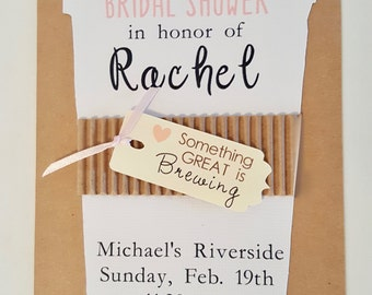 Hand-made Coffee theme Bridal Shower Invitation Wedding shower invite custom made