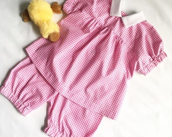 Girls gingham top and matching bloomers.