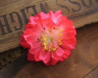 """Coral Flower Clip for Hair, Pink Floral Hair Clip for Women, Vintage Fascinator, 1950s Camellia Headband - """"A Wink & A Smile"""""""