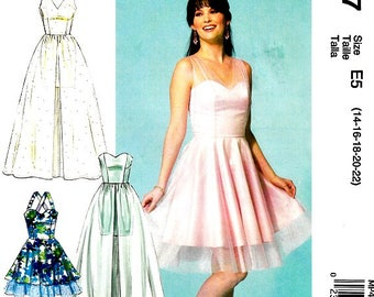 Create It Dress Sewing Pattern Straight or Flared Skirts Strapless and Overlay Options Plus Size Included 14 16 18 20 22 McCalls MP497 Uncut
