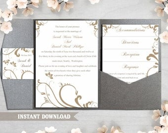 Pocket Wedding Invitation Template Download Printable Wedding Invitation Editable Gold Wedding Invitation Elegant Floral Invitation DIY