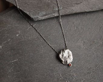 Petite silver necklace with Garnet, Organic texture sterling silver necklace, Red Garnet necklace, Delicate pendant necklace