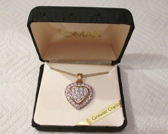 c1980's New in Box Old Stock Designer ROMAN Genuine Crystals LARGE Gold Cluster HEART Pendant Necklace w sparkly faux diamonds - Christmas