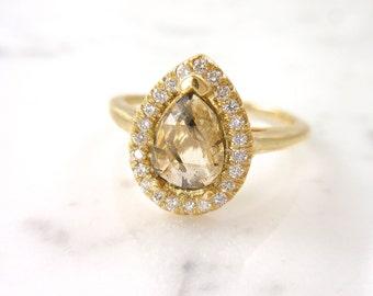 Custom Pear Diamond Ring, Rose Cut Diamond Ring, Pear Diamond with Diamond Halo, Modern Engagement Ring, Natural Diamond Ring, Made to Order